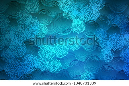 Light BLUE vector doodle blurred pattern. Flowers on blurred abstract background with gradient. The pattern can be used for wallpapers and coloring books.
