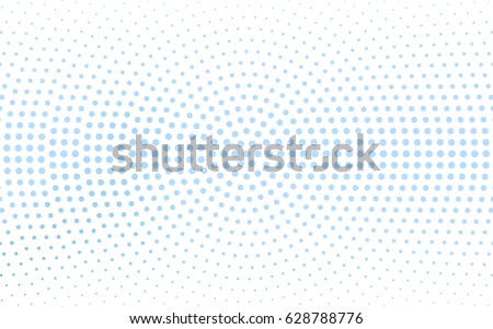 Stock Photo Light BLUE vector pattern with colored spheres. Geometric sample of repeating circles on white background in halftone style.