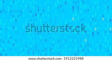 Light BLUE vector pattern with feminism elements. Colorful illustration with gradient feminism shapes. Simple design for your web site.