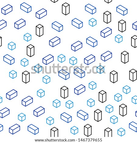 Light BLUE vector seamless, isometric background with rectangles. Rectangles on abstract background with colorful gradient. Pattern for trendy fabric, wallpapers.