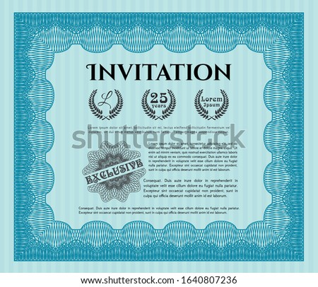 Light blue Vintage invitation. Customizable, Easy to edit and change colors. With background. Superior design.