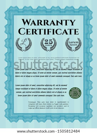 Light blue Warranty Certificate template. Money Pattern design. Customizable, Easy to edit and change colors. With linear background.