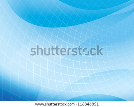 light blue wavy background with grid - vector