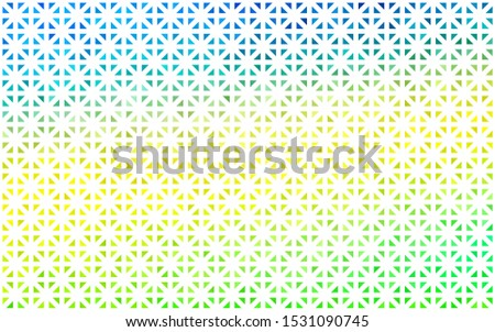 Light Blue, Yellow vector layout with lines, triangles. Triangles on abstract background with colorful gradient. Best design for your ad, poster, banner.