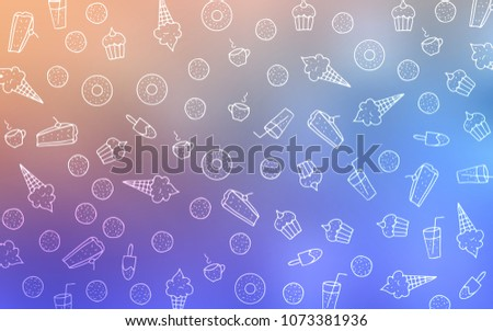 Light Blue, Yellow vector layout with sweet desserts. Glitter abstract sketch with sweets, candies, desserts. Design for ad, poster, banner of cafes or restaurants.