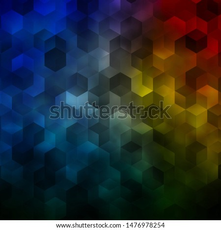 Light Blue, Yellow vector pattern with colorful hexagons. Colorful hexagons on blur backdrop. Design for website posters, banners.