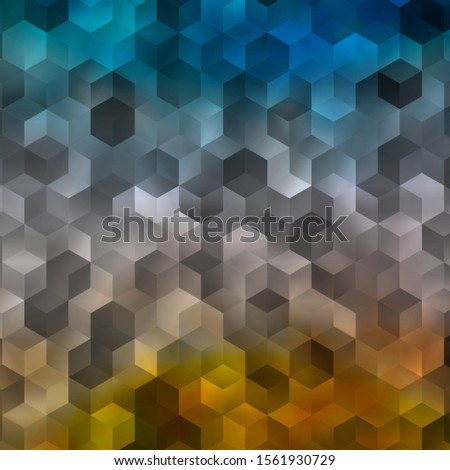 Light Blue, Yellow vector pattern with colorful hexagons. Colorful hexagons on blur backdrop. New template for your brand book.