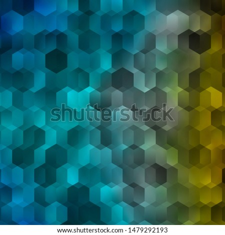 Light Blue, Yellow vector texture with colorful hexagons. Colorful hexagons on blur backdrop. New template for your brand book.