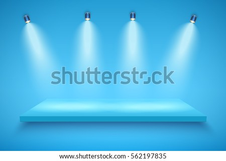 light box with blue platform on
