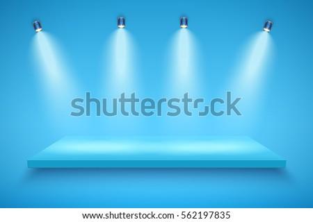light box with blue platform on
