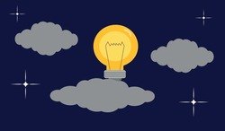 Light bulb among clouds in a starry sky. Concept of rising electricity costs in Europe. Intelligence concept