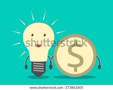 light bulb and dollar coin