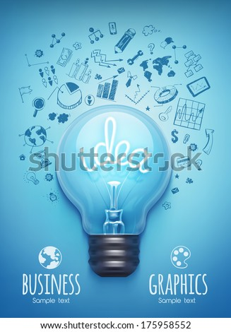 Light bulb and drawing business strategy. Vector