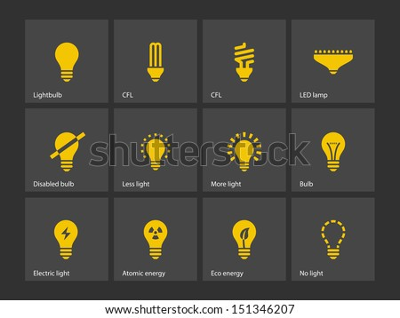 Light bulb and LED lamp icons. Vector illustration.