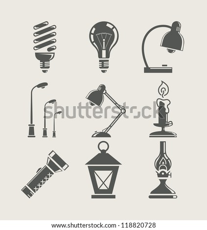 light bulb and lighting appliance. set icon vector illustration