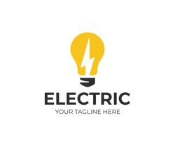 Light bulb and lightning bolt logo template. Electrical vector design. Lightbulb and flash logotype