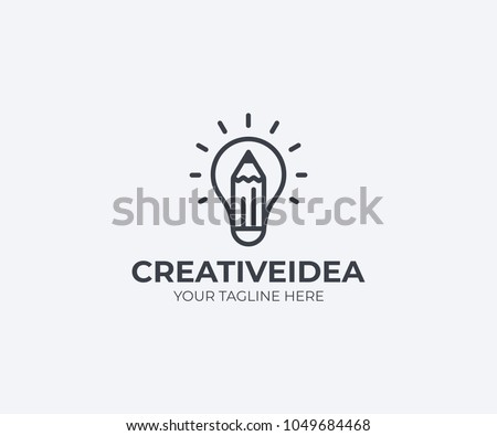 Light bulb and pencil logo template. Creative idea vector design. Smart writer logotype