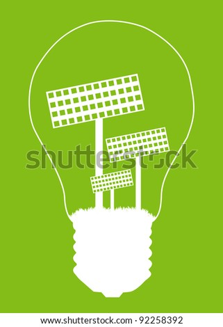 Light bulb and solar panel inside. Alternative energy concept vector background poster