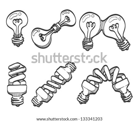 Light bulb and spiral bulbs sketches