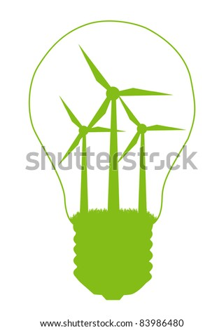 Light bulb and wind mill generator inside. Alternative energy concept vector background