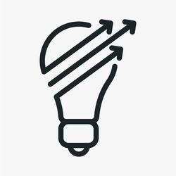 Light Bulb Arrows Minimalistic Flat Line Outline Stroke Icon Pictogram Symbol