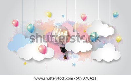 Light bulb balloon on colorful watercolor sky and cloud background, Business startup concept, paper cut design style, vector illustration.