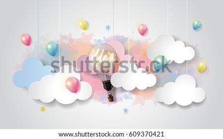 light bulb balloon on colorful