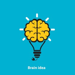 light bulb Brain icon on a blue background