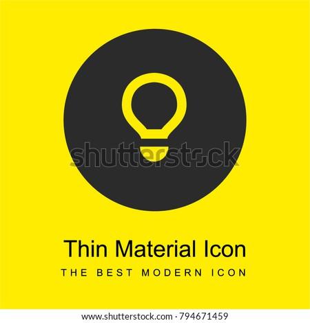 Light bulb bright yellow material minimal icon or logo design