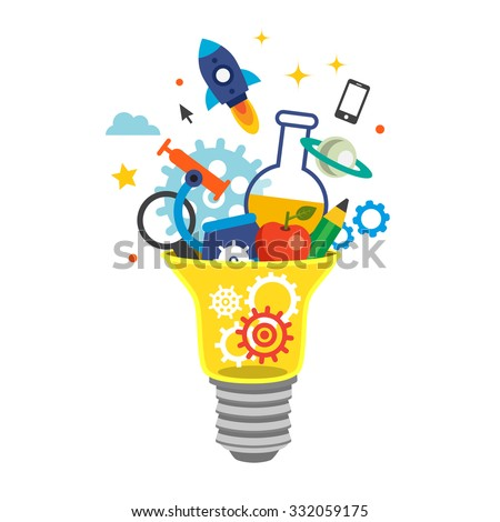 Light bulb bursting with cogs and ideas. Education concept. Flat style vector illustration isolated on white background.