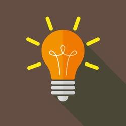 Light bulb - business vector icon, long shadow, flat design
