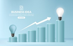 Light bulb climbing up stairs to reach a target, Ladder of business success, Creative idea to achieve opportunity in career concept
