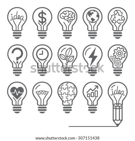 light bulb concept line icons