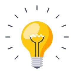 Light bulb, creative idea and innovation,vector illustration in flat style