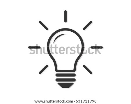 Light Bulb Dark Grey line icon vector,Idea sign, solution, thinking concept. Lighting Electric lamp. Electricity, shine. isolated on white background.