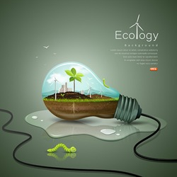 Light bulb ecology concept design background, with sprouts plant, soil, building, wind power unit, worm green, drop water, vector illustrations
