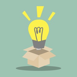 light bulb float over opened box, think outside the box .Ideas concept Vector illustration of opened box and yellow light bulb on color background. light bulb. light bulb. light bulb. light bulb.