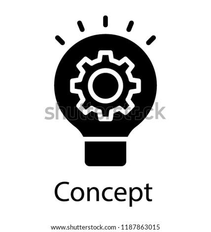 light bulb having cogwheel symbolising idea generation