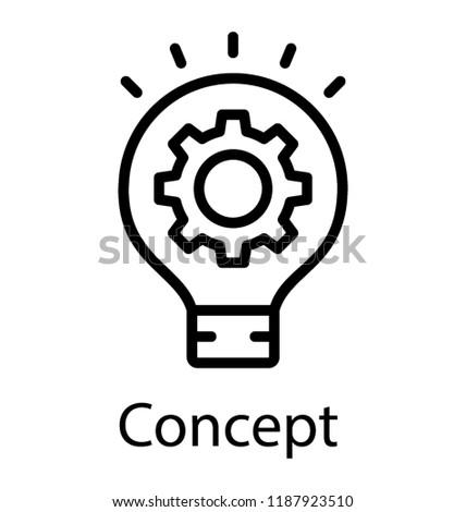 Light bulb having cogwheel symbolizing idea generation