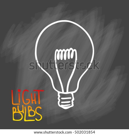 Light bulb icon. Concept of big ideas inspiration, innovation, invention, effective thinking. CFL lamp.  Isolated. Vector illustration.  Idea symbol. sketch. Sign. On chalk background #502031854