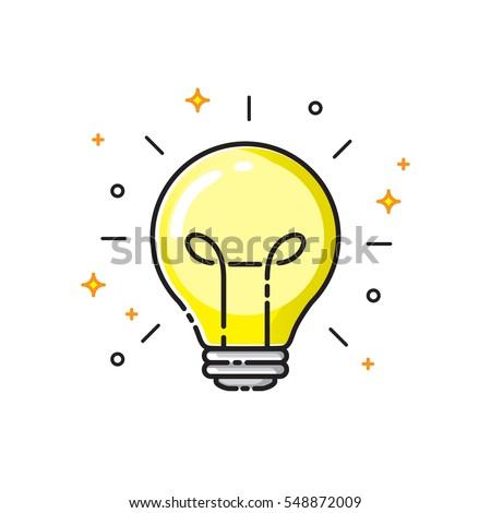 Light bulb icon design, idea concept symbol. Vector illustration.