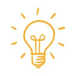 Light bulb icon, idea symbol, sketch vector illustration. Hand drawn doodle sign.