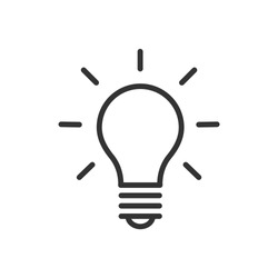 Light bulb icon. Ideas, solution, electricity symbol. Vector Illustration.