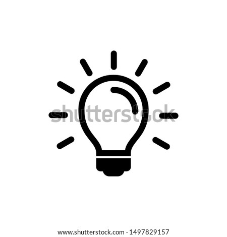 Light bulb icon isolated on white. Line vector icon. Light bulb sign in flat style. Lighting lamp in black. Light bulb as sign solution, idea, thinking concept. Electricity bulb shine.
