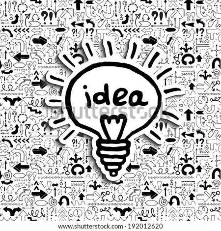 Light bulb icon on arrow filled background. Concept of a creative idea in a situation of uncertainty. Can be used as web icon or label as well. Hand drawn vector illustration.