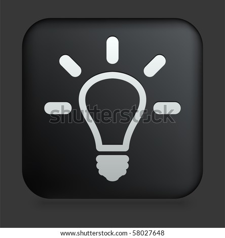 Light Bulb Icon on Square Black Internet Button Original Illustration