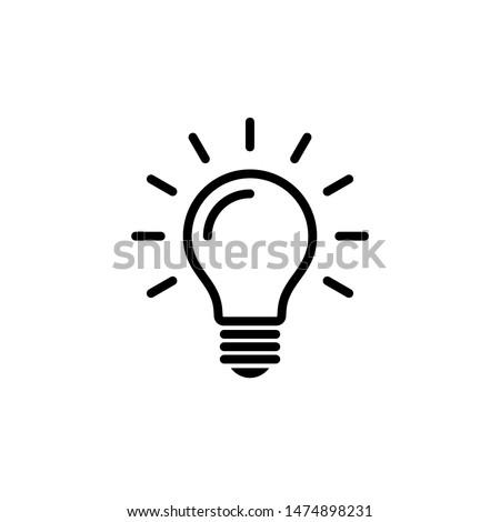 Light bulb icon vector. Flat Bulb, Creative ideas, solution symbol