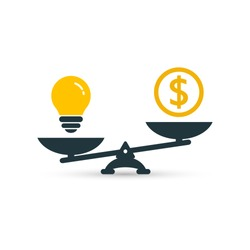Light bulb idea and money on scales color icon. Vector flat design business concept.