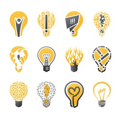 Light bulb idea. Collection of design elements.