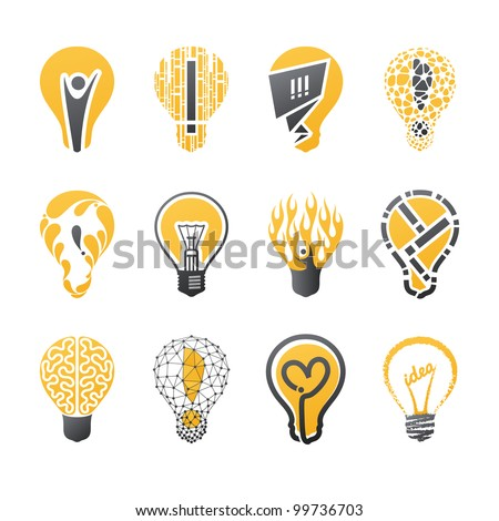Light bulb idea. Collection of design elements.
